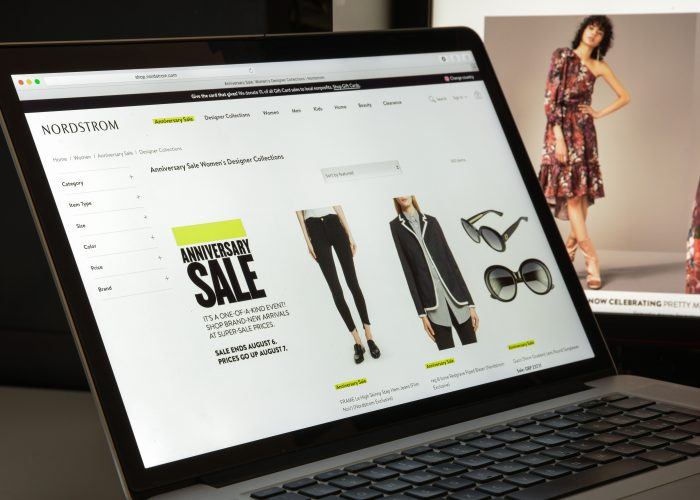 Nordstrom sale page on laptop.