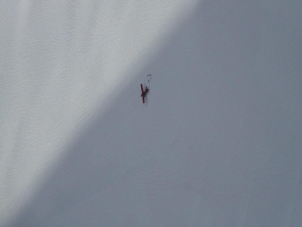 Zoomed in plane on glacier.