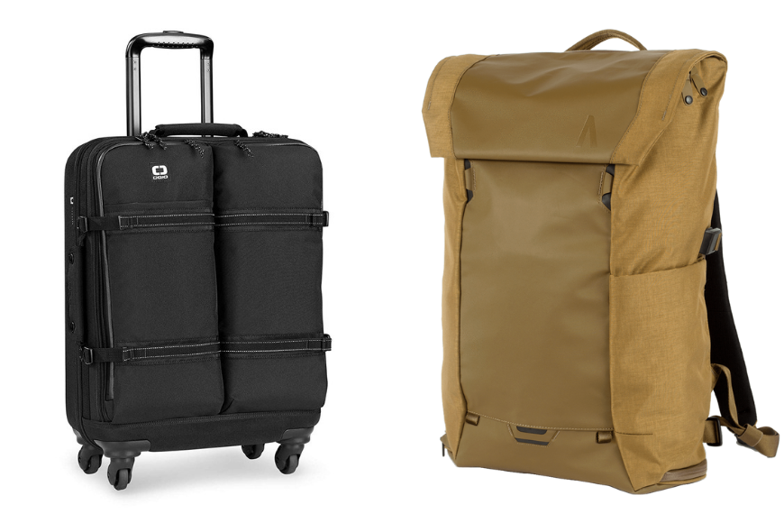 OGIO alpha convoy four-wheel spinner carry-on and boundary modular errant pack.