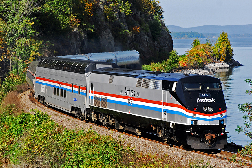 amtrak adirondack train autumn.