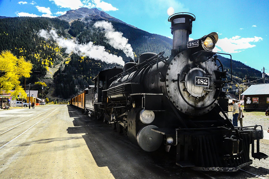 durango and silverton narrow gauge railroad train.