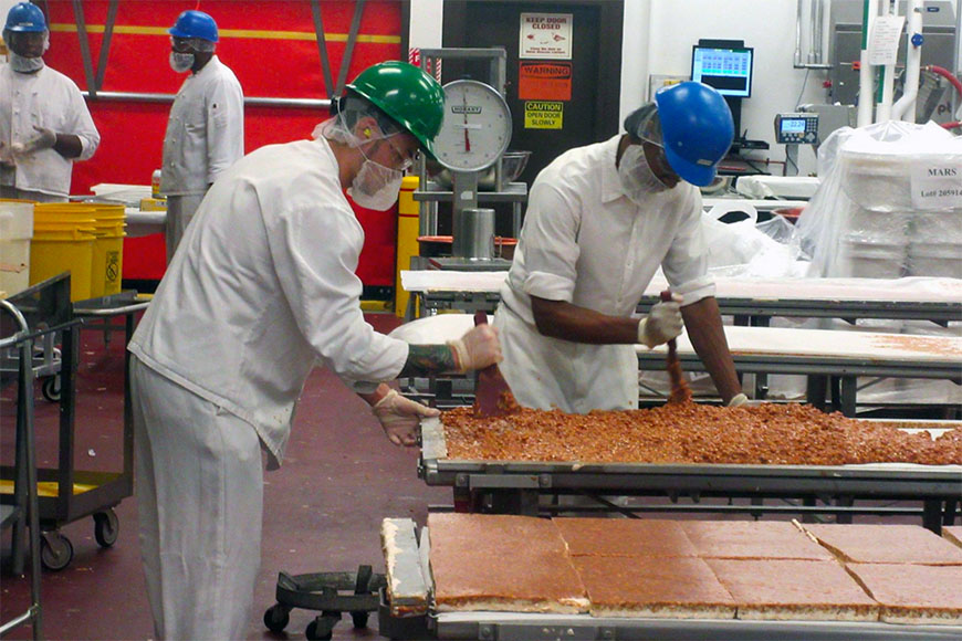 factory workers at ethel m chocolates