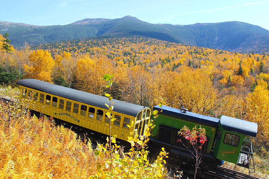 mount washington cog railway train autumn.