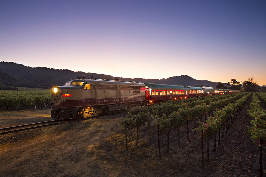 napa valley wine train at night.