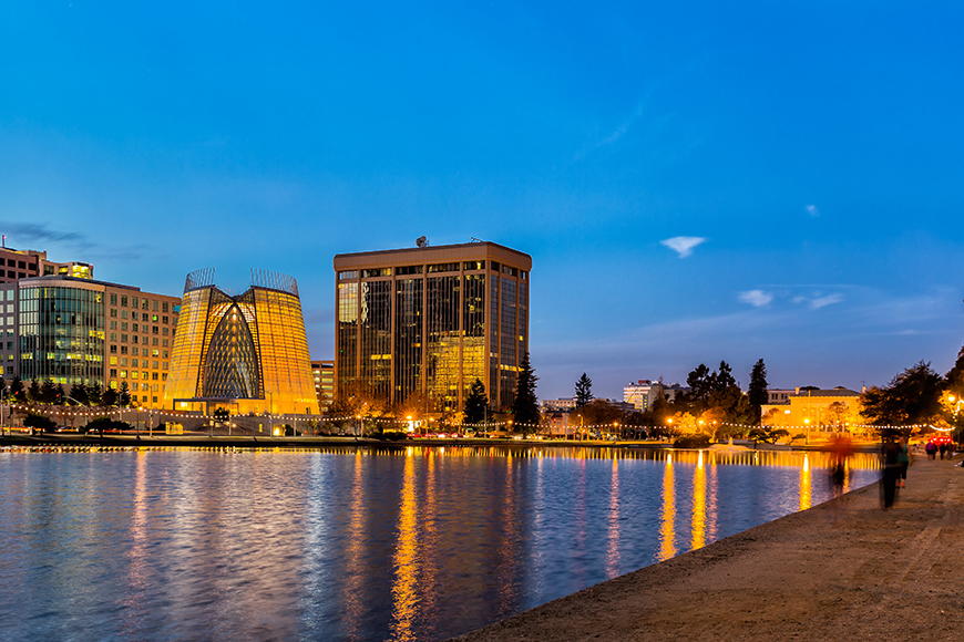 oakland waterfront at night.