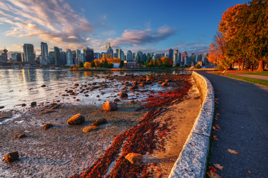 Vancouver seawall in fall british columbia canada