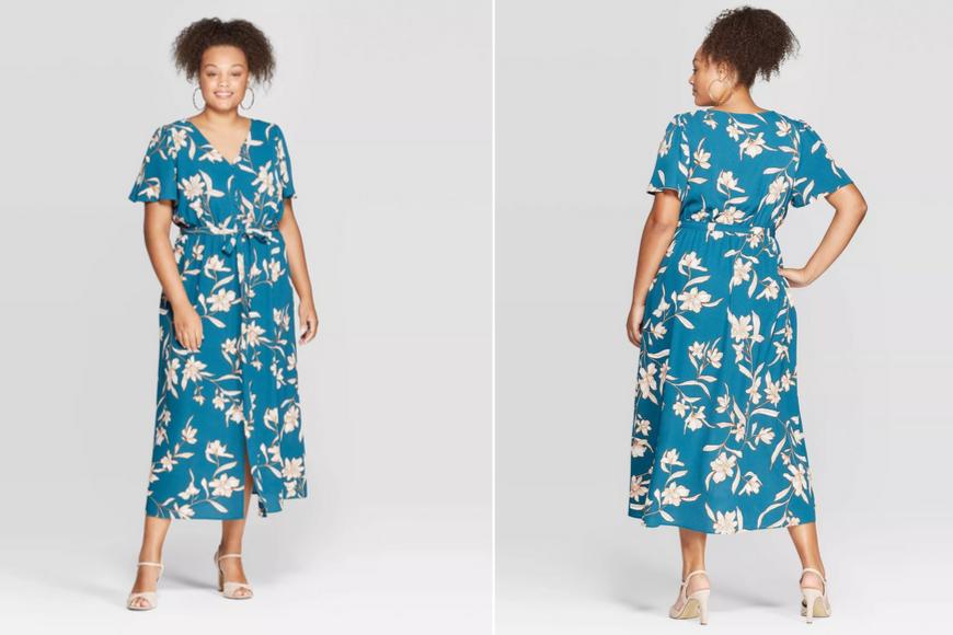 Ava & viv women's plus size floral print short sleeve maxi dress