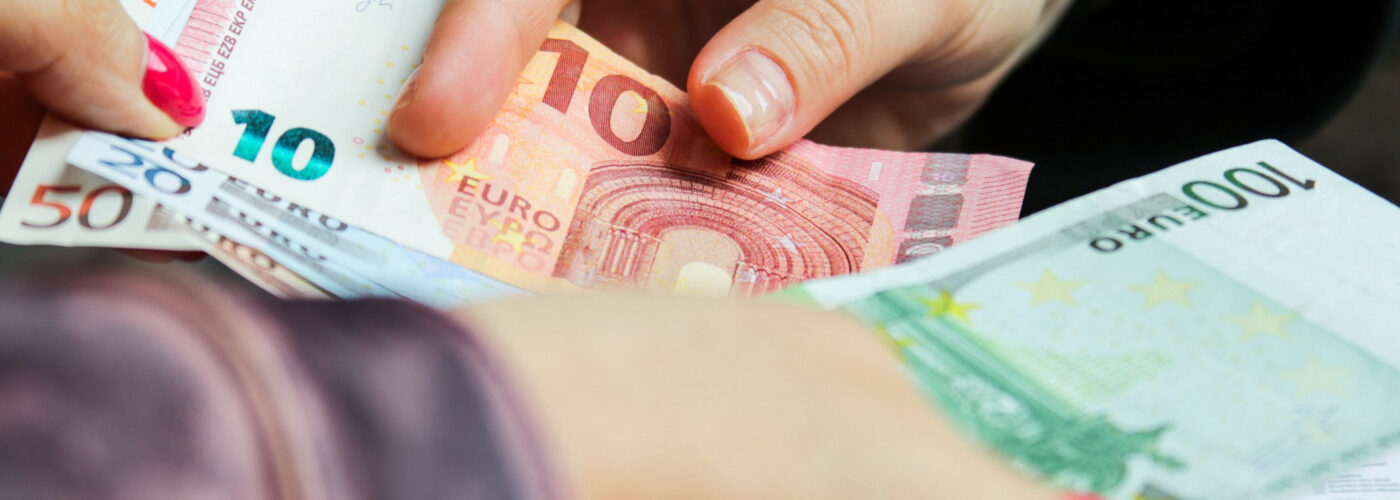 Making change for Euros, a common counterfeit money.