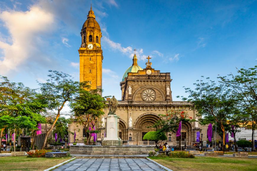 Facade of manila cathedral, manila, philippines
