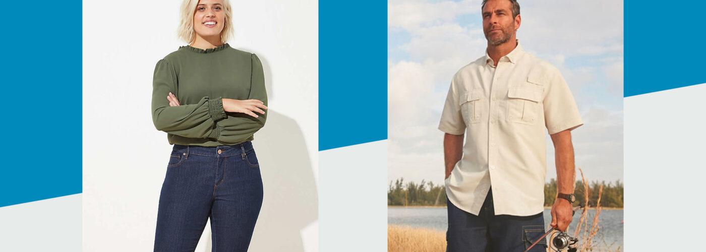LOFT Plus Modern Skinny Jeans in Dark Rinse Wash | Boulder Creek Off-Shore Short-Sleeve Sport Shirt
