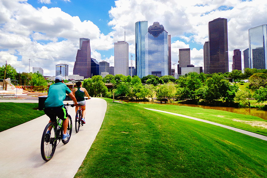 biking in buffalo bayou park houston.