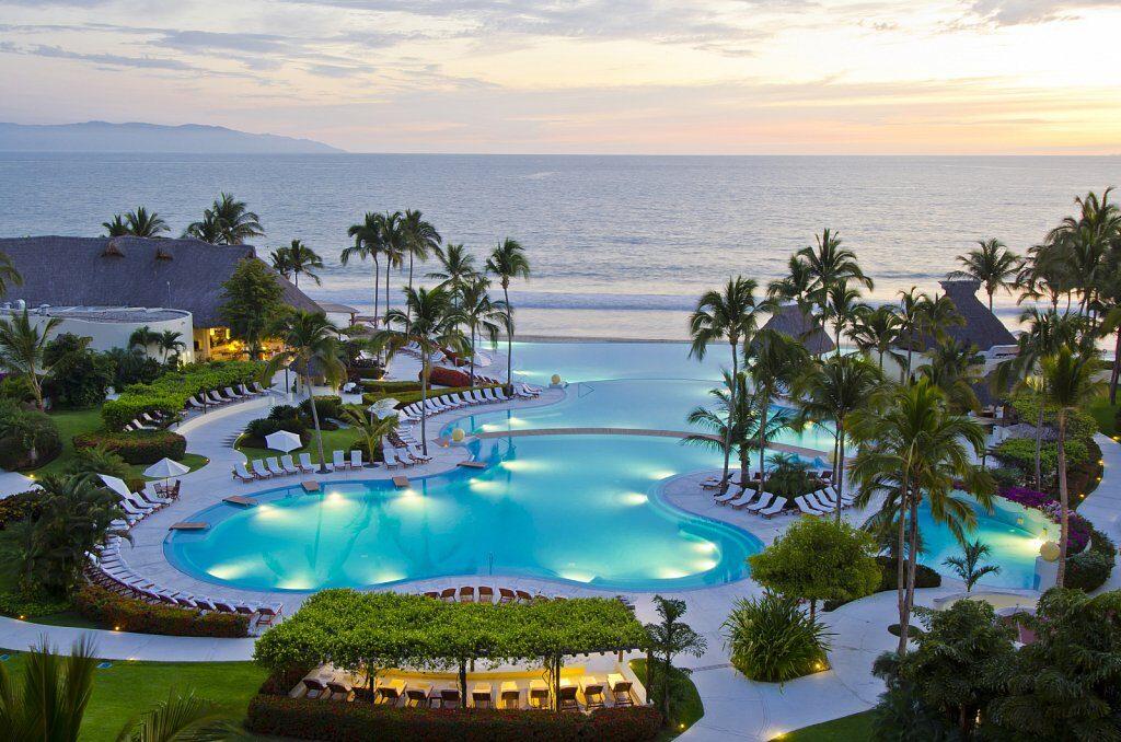 infinity pool leading to ocean.