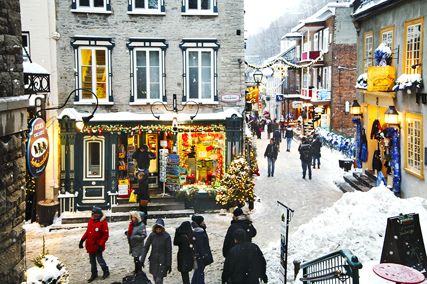 holiday decorations in quebec city.