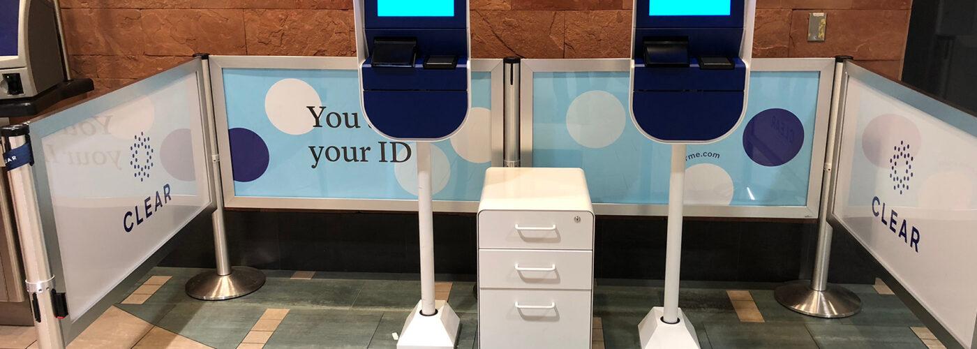 CLEAR program biometric screening at airport.