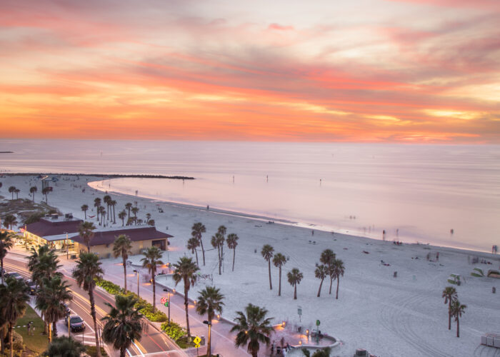 sunset view of Clearwater Beach, Florida