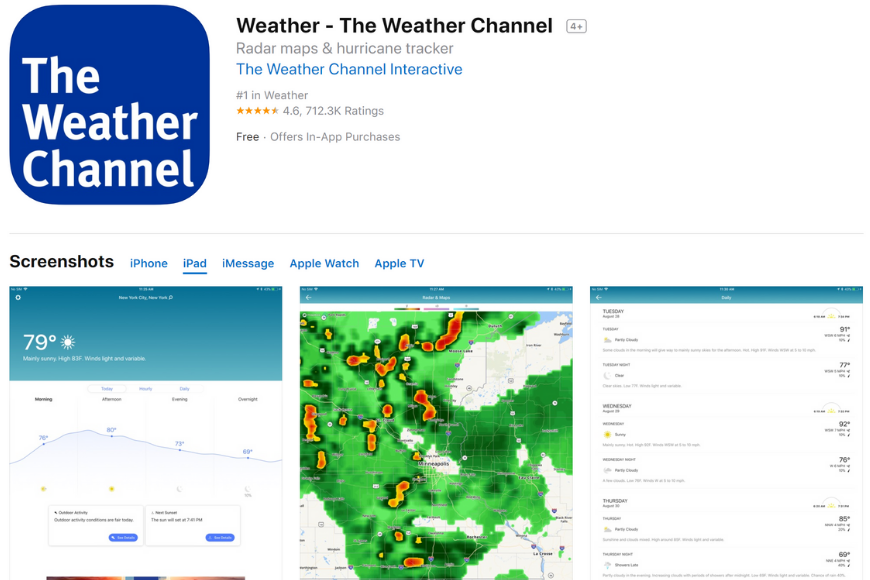 the weather channel app.