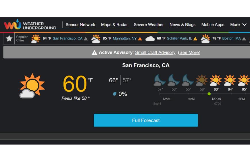 weather underground app.