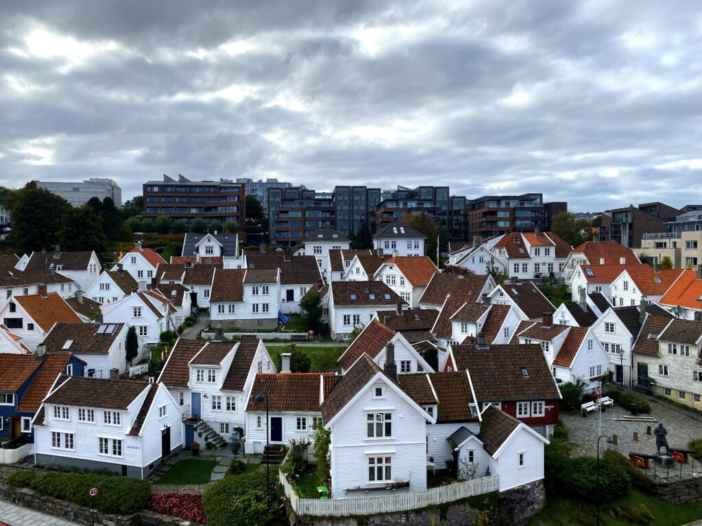 white historic houses in norway.