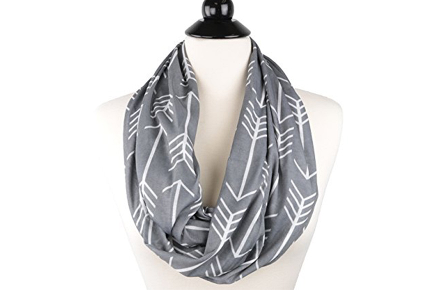 Pop fashion women's arrow patterned infinity scarf with zipper pocket