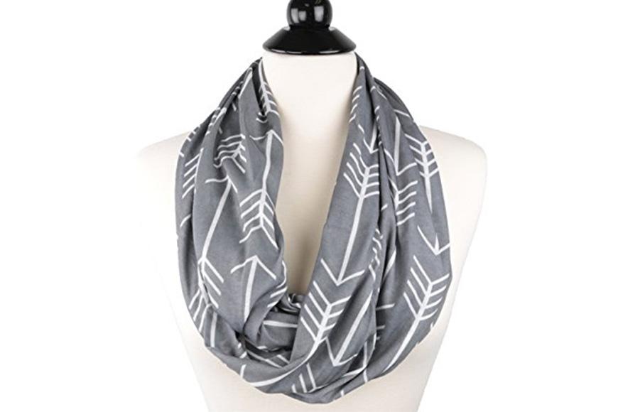 Pop fashion women's arrow patterned infinity scarf with zipper pocket