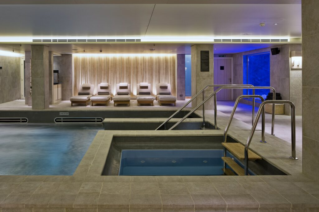 interior view of cruise ship spa.