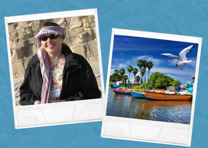 plus sized woman vacation polaroid snaps