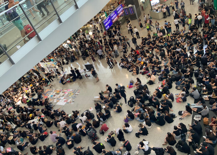 Airport protest in Hong Kong.