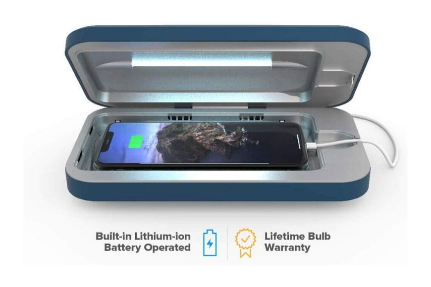 PhoneSoap go battery-powered smartphone sanitizer.