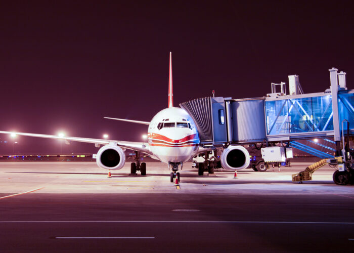 airplane boarding at night