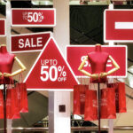 window display showing sales