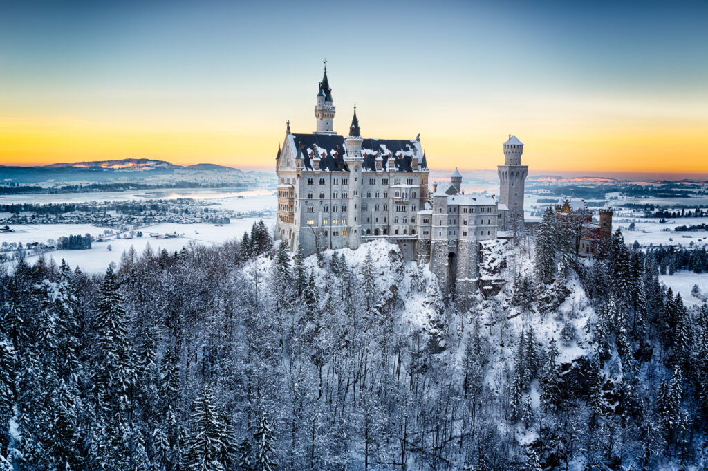 castle with dusting of snow