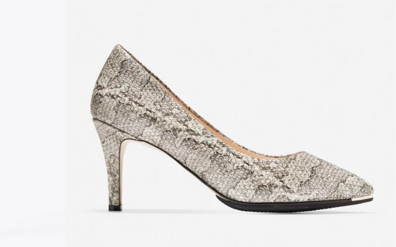 comfortable heel snakeskin print