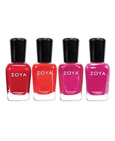 Pink and red nail polish set
