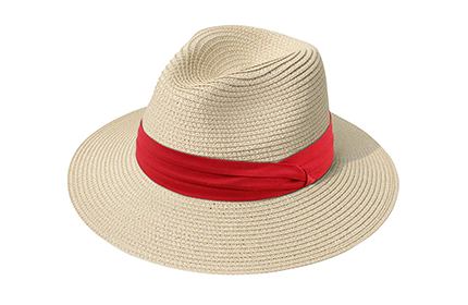 Sun hat with red belt