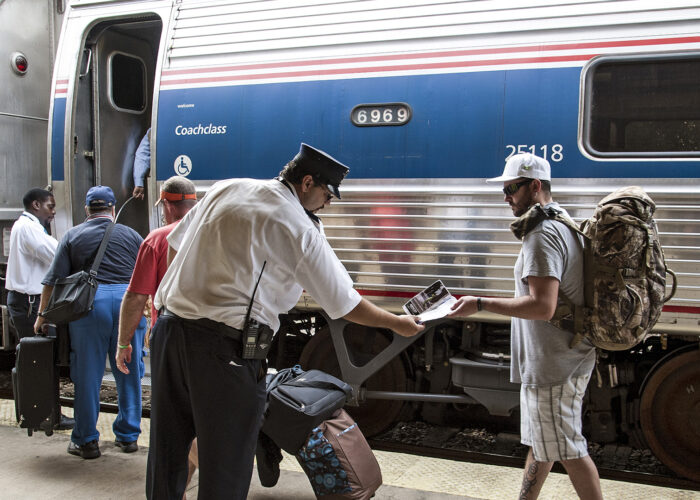 boarding amtrak train car