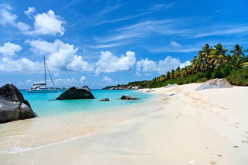 british virgin islands boats and beach.