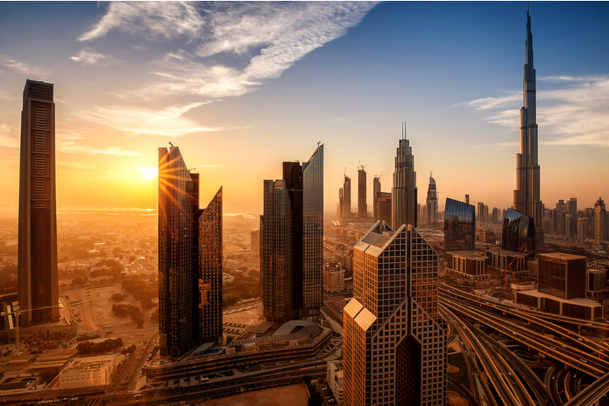 dubai at sunrise.