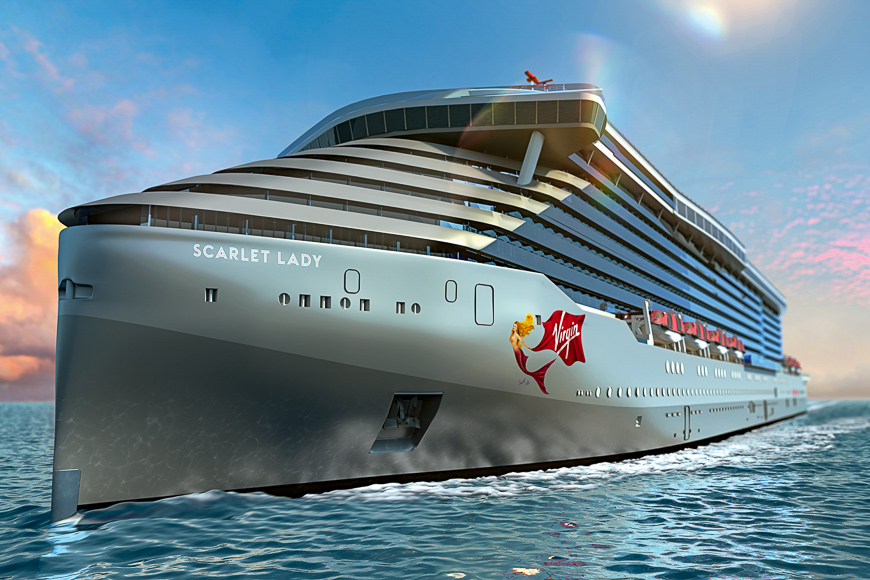 exterior of scarlet lady the new virgin voyages cruise ship
