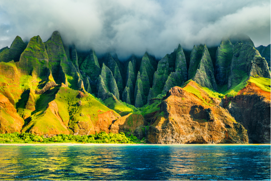 na pali coast in the fog kauai hawaii.