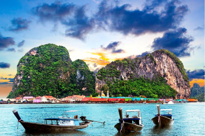 phuket island boats and scenery.