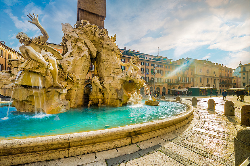 Ancient square in rome, italy winter