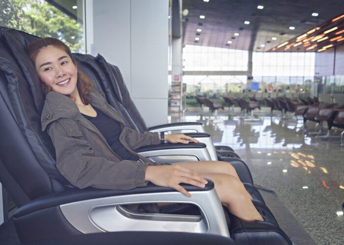 massage chair in airport trip upgrade.