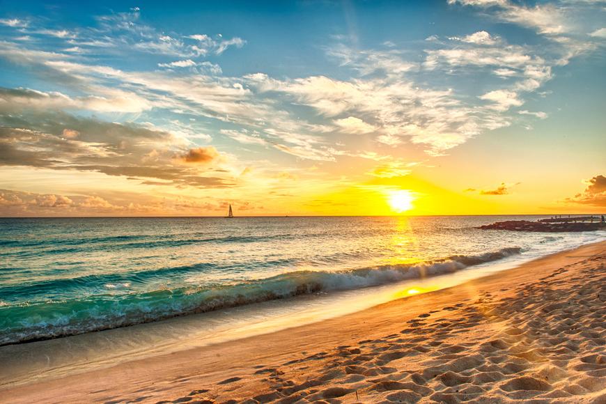 sunset barbados beach.