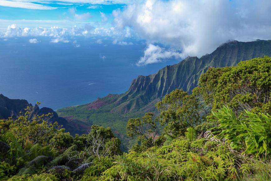 view of mountains in secret beach, kauai, Hawaii