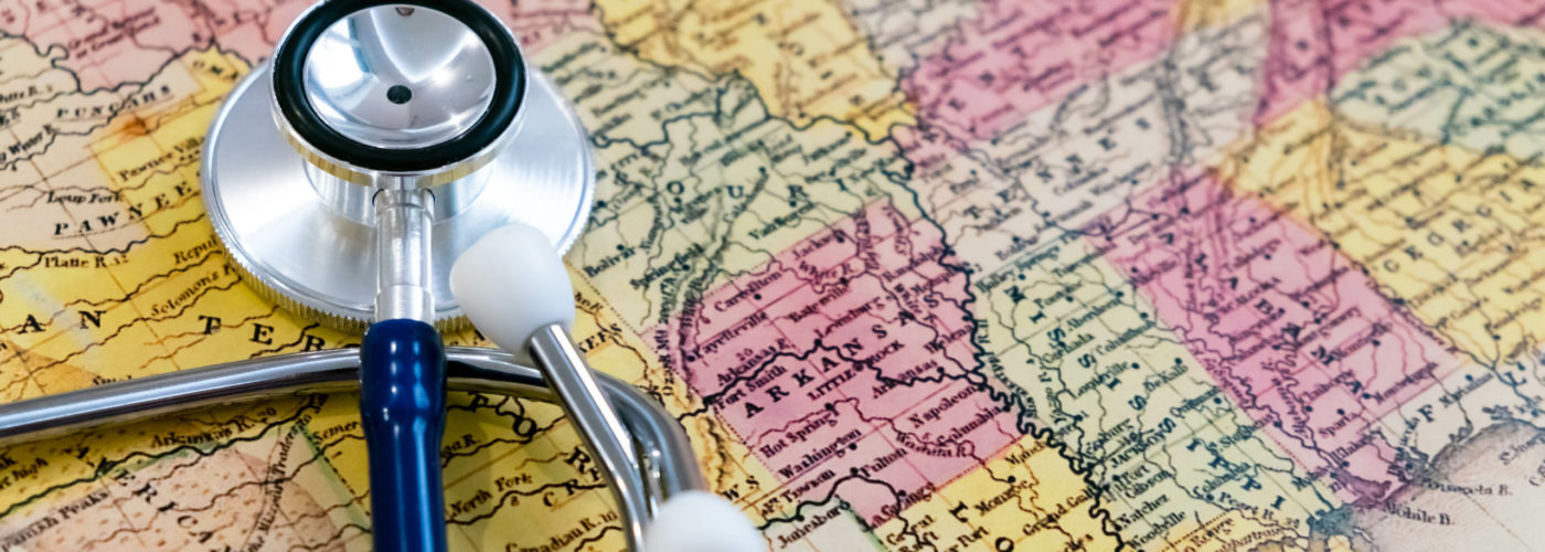 Stethoscope on top of map of the United States
