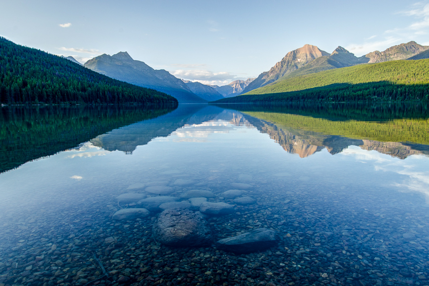 Reflection in Bowman Lake, Glacier National Park