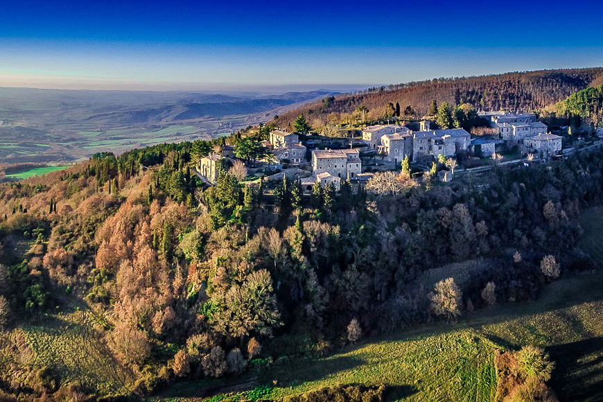 Monteverdi Tuscany village aerial