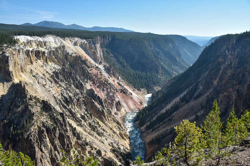 Landscape of Yellowstone River during a hike along the south rim trail at Yellowstone National Park