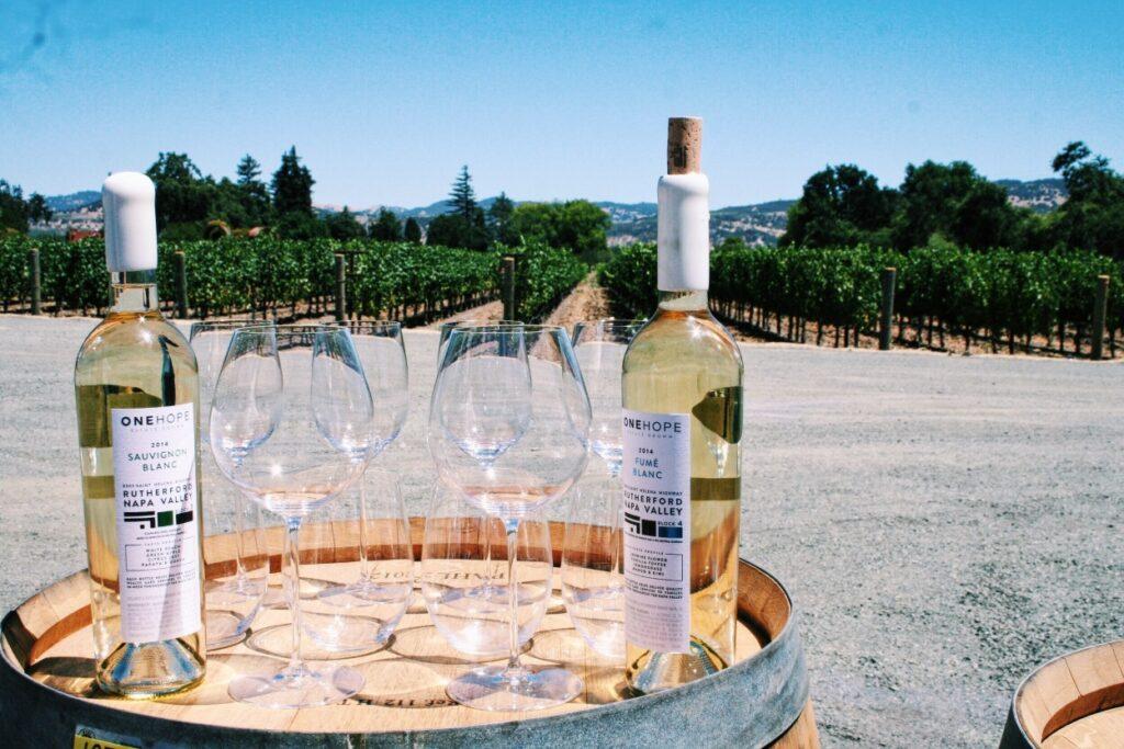 wine bottles in napa valley