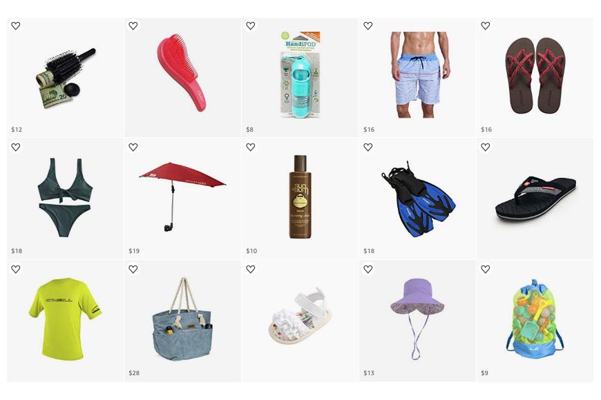 Beach Gearpacking list